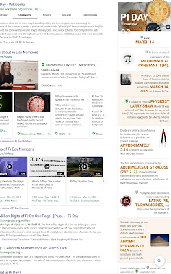 Pi Day sur Microsoft Bing