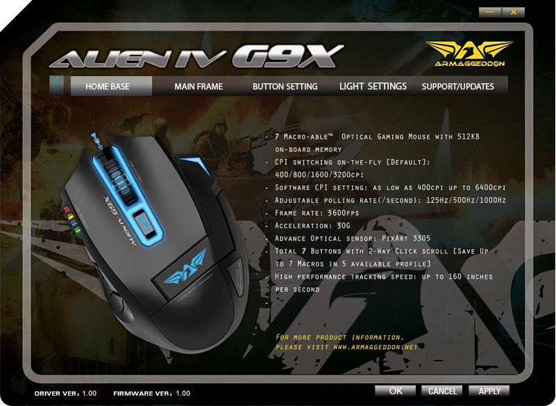 Armaggeddon Alien IV G9X Optical Gaming Mouse