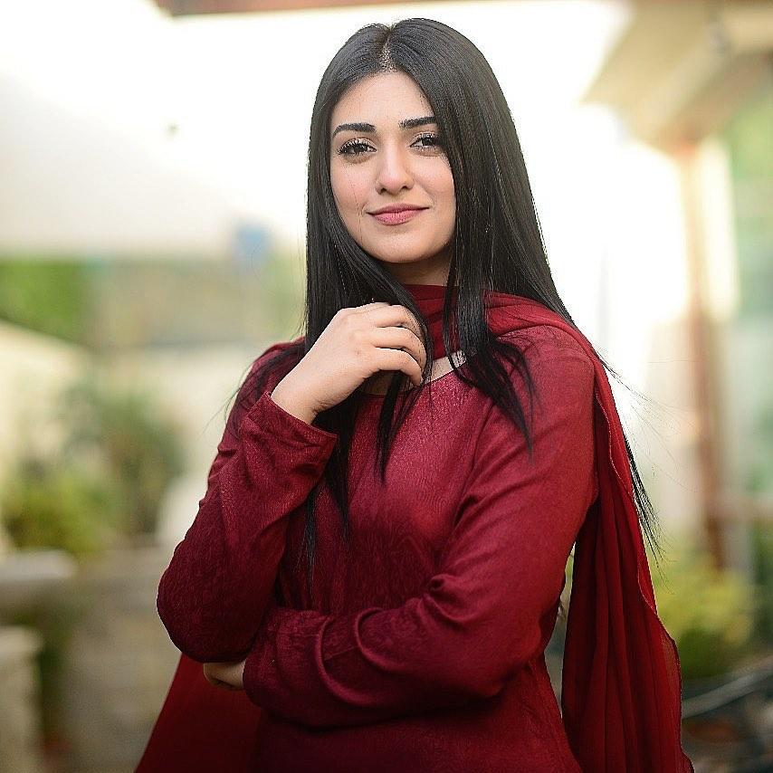Sarah Khan in Red Dress