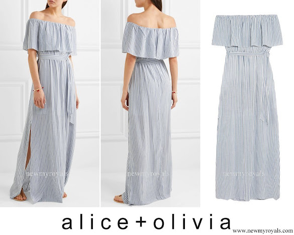 Crown Princess Mary wore ALICE + OLIVIA Grazi off-the-shoulder striped poplin maxi dress