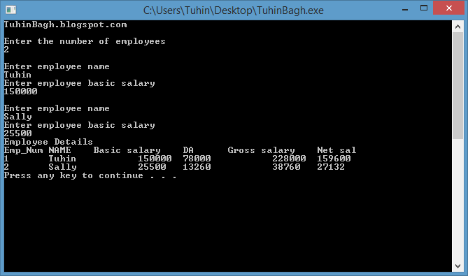 C++ Program to calculate Net salary from HDA and gross Salary of no