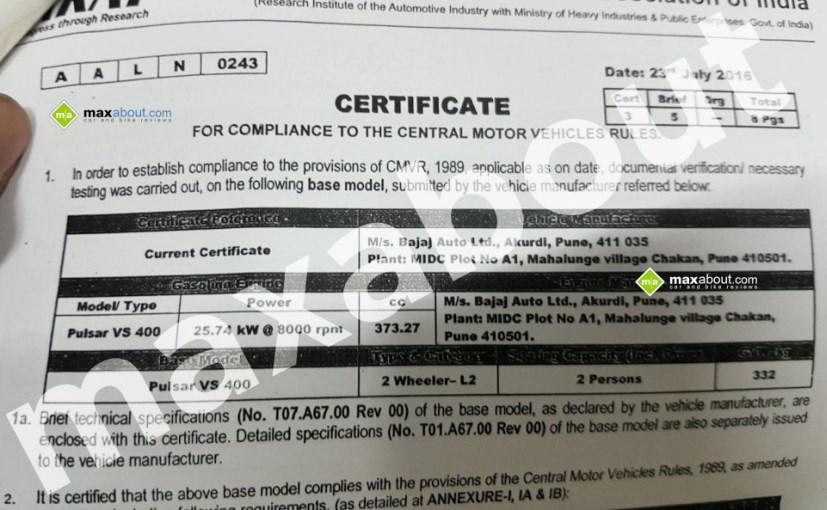 bajaj pulsar vs400 ARAI certificate twinkle torque