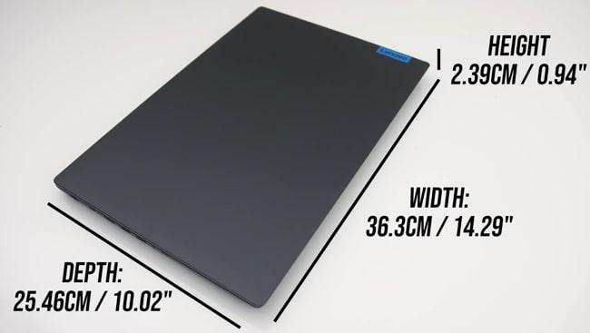 Dimensions of Lenovo IdeaPad L340 laptop.