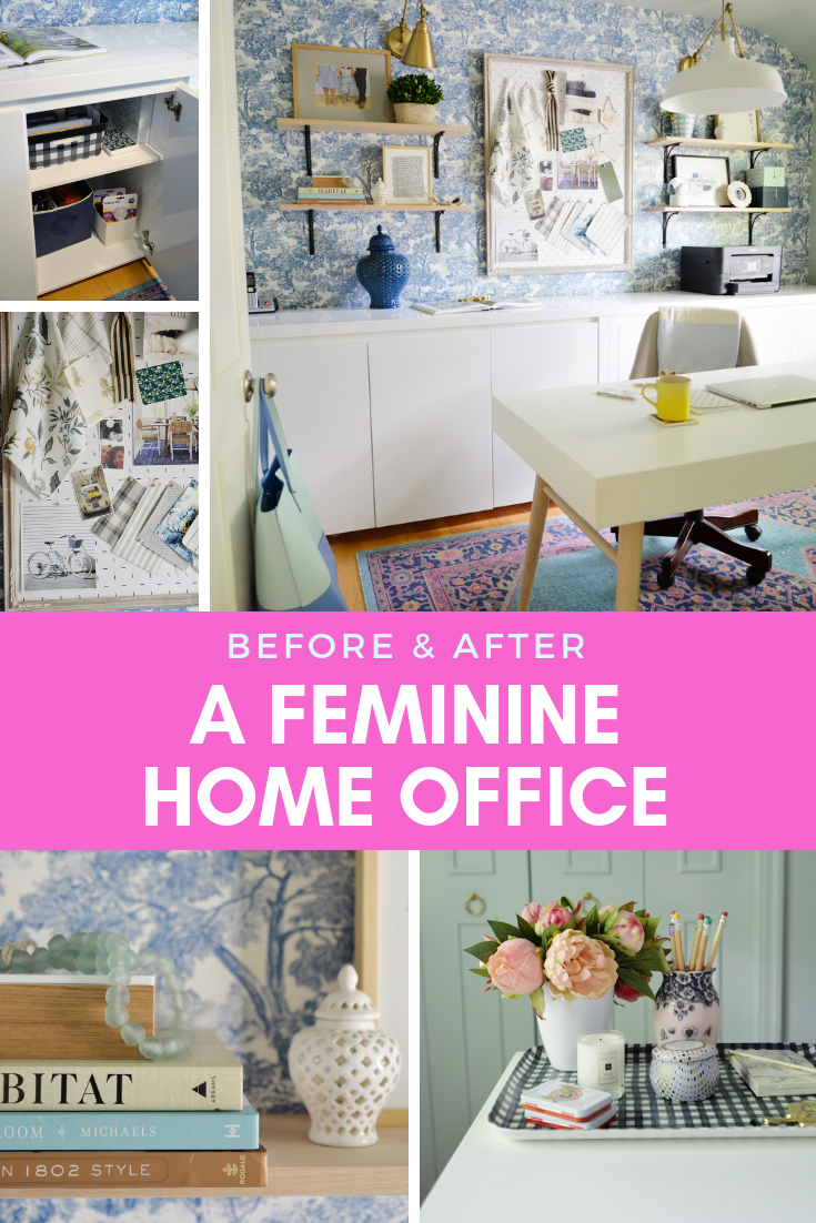 feminine home office, blue white office, toile wallpaper, pretty home office