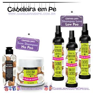 Linha Óleo de Coco - Tricofácil (Leave ins e Creme para pentear liberados para Low Poo --- Óleo de Coco e Gelatina liberados para No Poo)