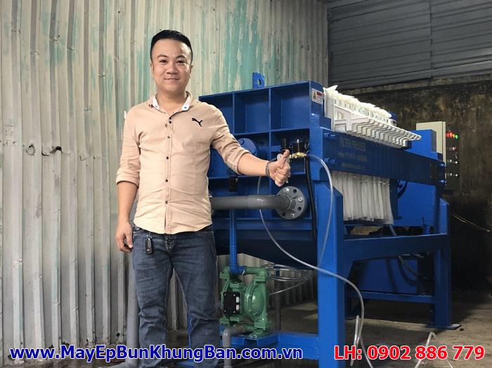 Lắp đặt trọn gói máy ép bùn khung bản 630x630mm 15 khung cho HTX Tấn Thành, ngành chế biến cao su tổng hợp