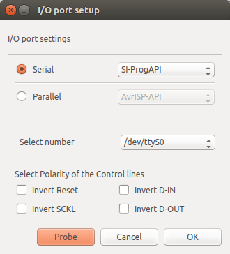 PonyProg 3.0 I/O port setup