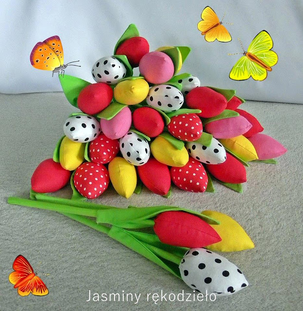 Tulipany, gnomy, renifery, owieczki