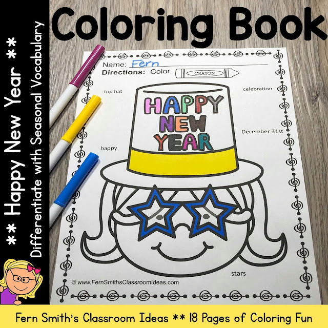 Happy New Years Coloring Book with Seasonal Vocabulary