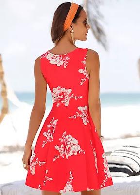 Black Floral Viscose Beach time dress
