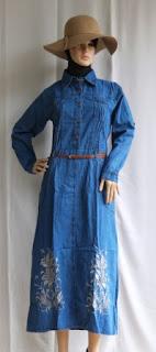 Gamis Jeans Terbaru Motif Bordir Bunga GJ1091