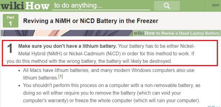 Memasukkan baterai ke dalam kulkas