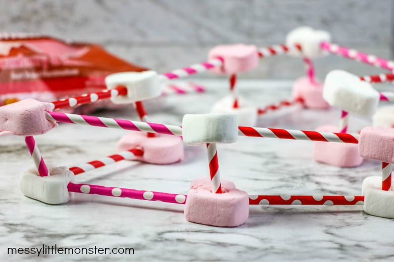 3d heart marshmallow structures