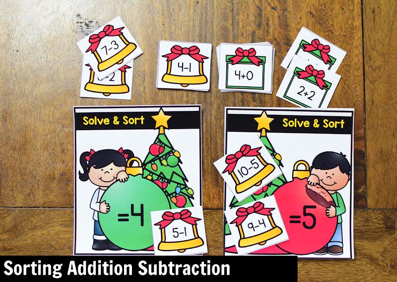 Kindergarten Math Center for December: Sorting Addition Subtraction