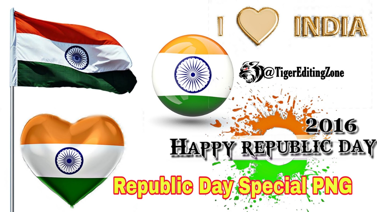Happy Republic Day (26 January) Special Text & Flag Png Stock Download For Editing