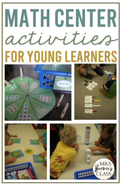 Math Centers and ideas for math activities in Kindergarten