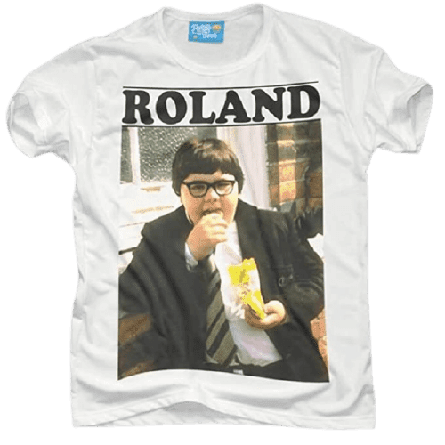 White T-shirt with Roland Browning eating crisps graphic