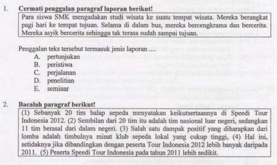Soal UN Bahasa Indonesia SMK Tahun 2019
