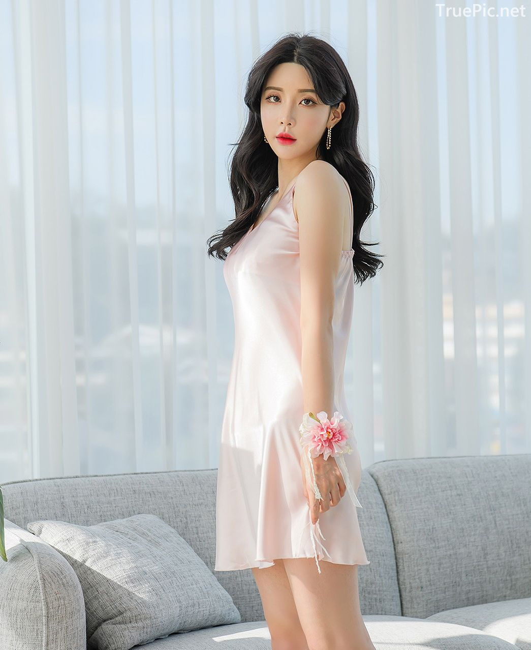 Korean hot model fashion - Yoo Gyeong - Light pink and Black Basic Slip dress