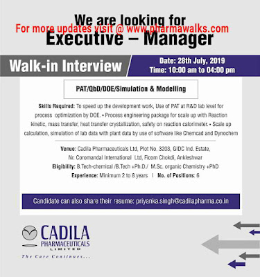Cadila Pharmaceuticals walk-in interview for multiple positions on 28th July, 2019