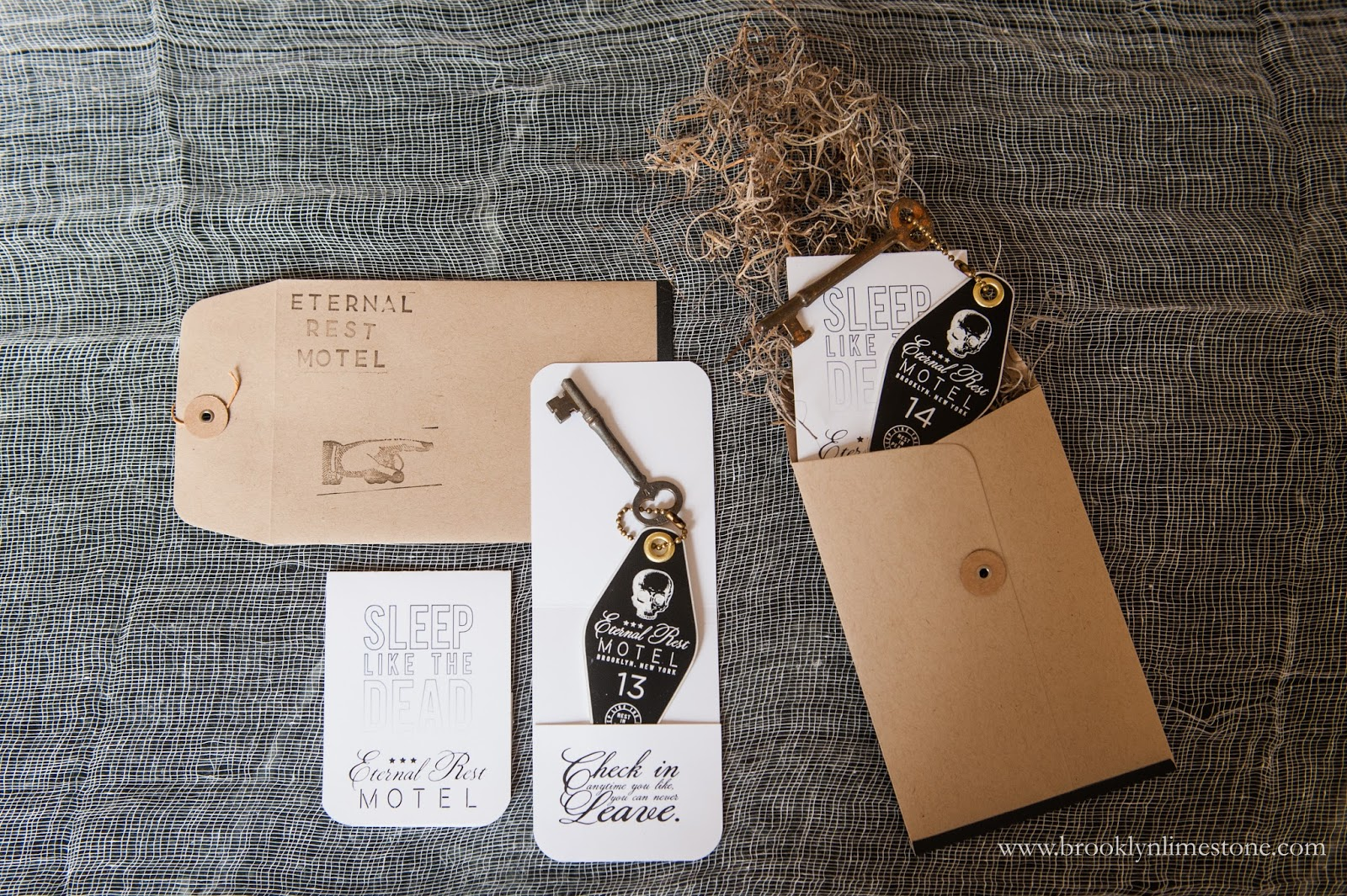 Eternal rest hotel key fobs halloween invitations brooklyn limestone i had the key fobs printed online using my design and i made the folios on my home printer and stuffed the whole thing into a kraft paper button string stopboris Choice Image