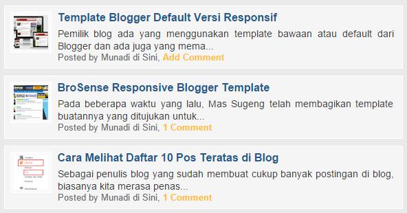 Tampilan Beranda Versi Seluler dengan Deskripsi Posting