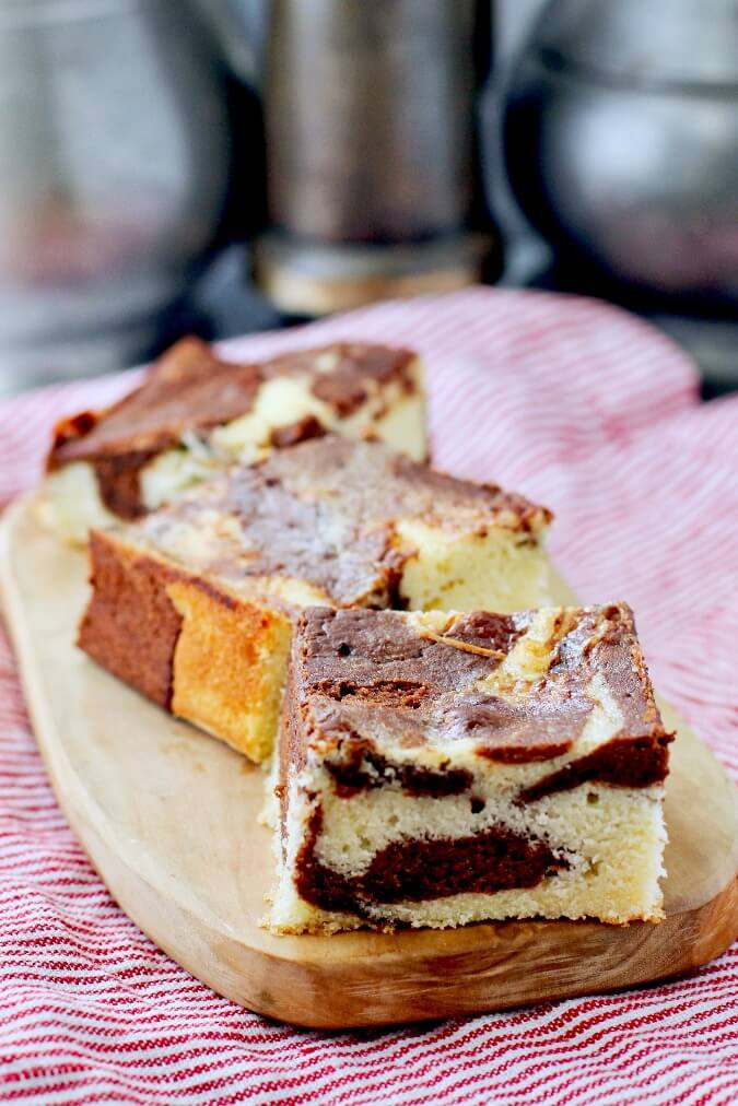 Three pieces of marble cake