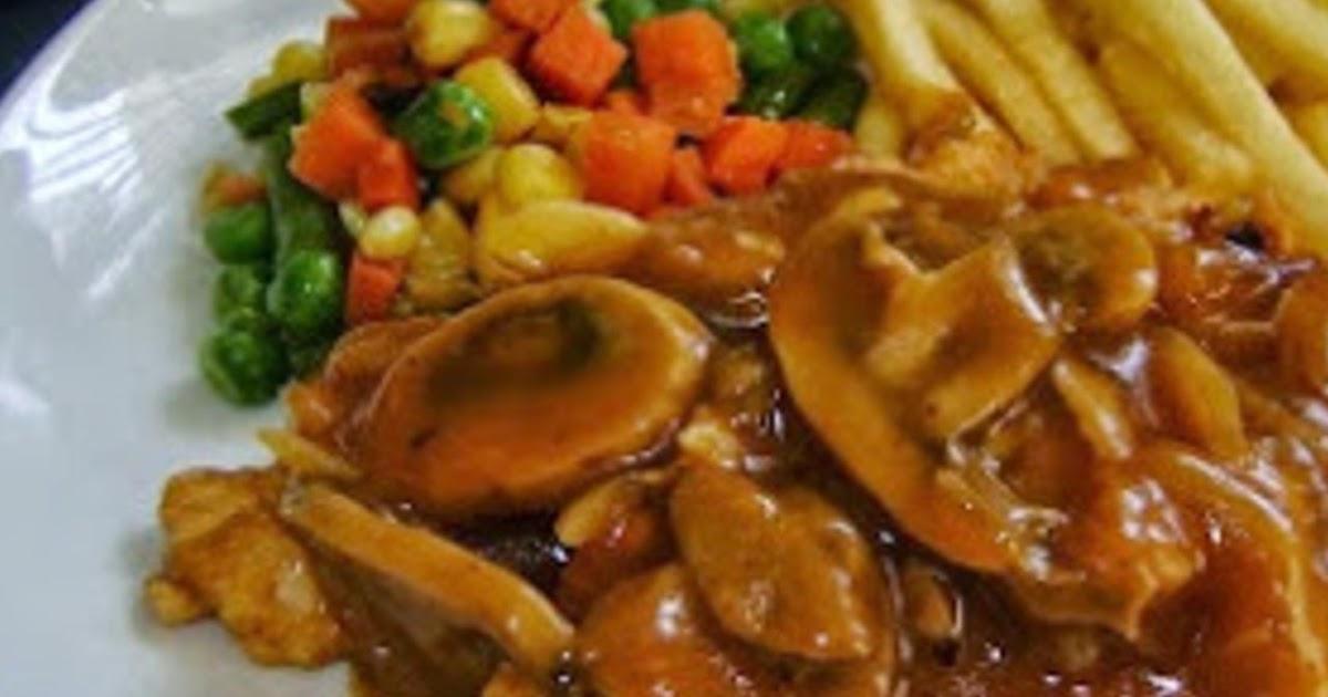 membuat menu resep stek ayam saus jamur  enak pingin masak enak Resepi Daging Masak Bistik Enak dan Mudah