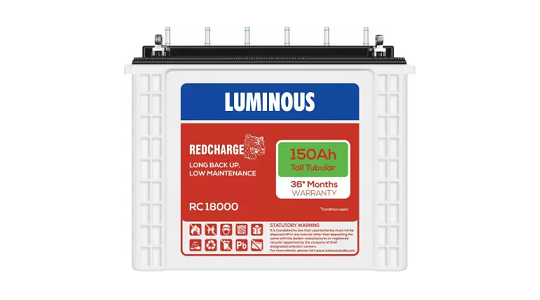 LUMINOUS RC 18000 150 AH Tall Tubular Battery