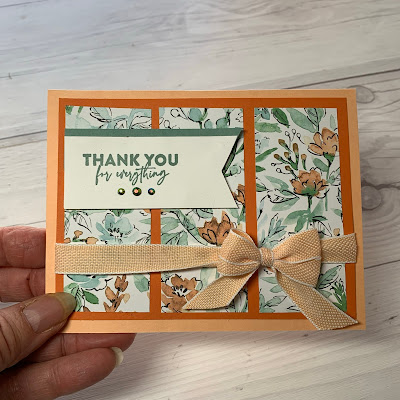Floral handmade thank-your card using Stampin' Up! Hand-Penned Designer Series Paper