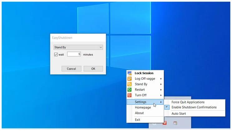 EasyShutdown : Δωρεάν πρόγραμμα για άμεση ή καθυστερημένη επανεκκίνηση, απενεργοποίηση ή αναστολή του υπολογιστή σας