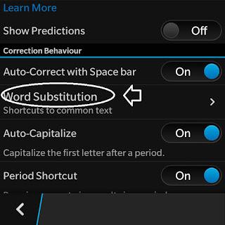 setting tulisan autotext di bb
