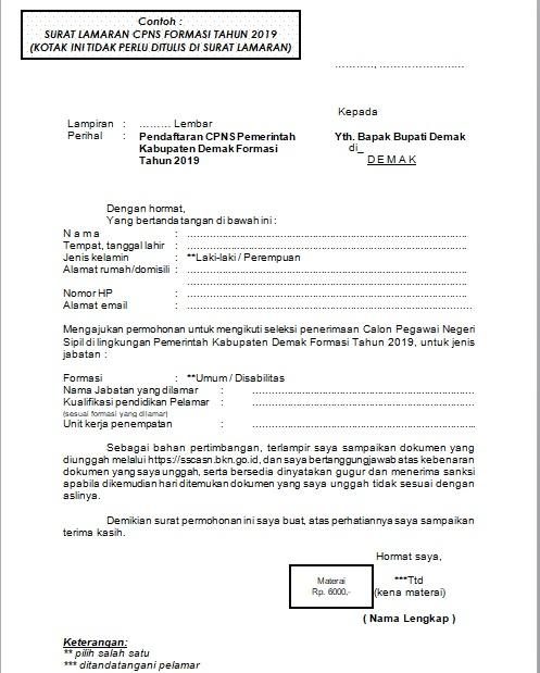 Format Surat Lamaran Cpns 2019 Bkpp Kabupaten Demak