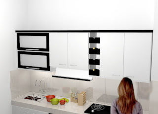 Kitchen Set Putih Hitam Monokrom - Semarang Furniture