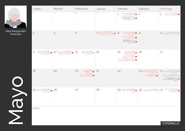 Calendario Excepcionales Mayo 2020