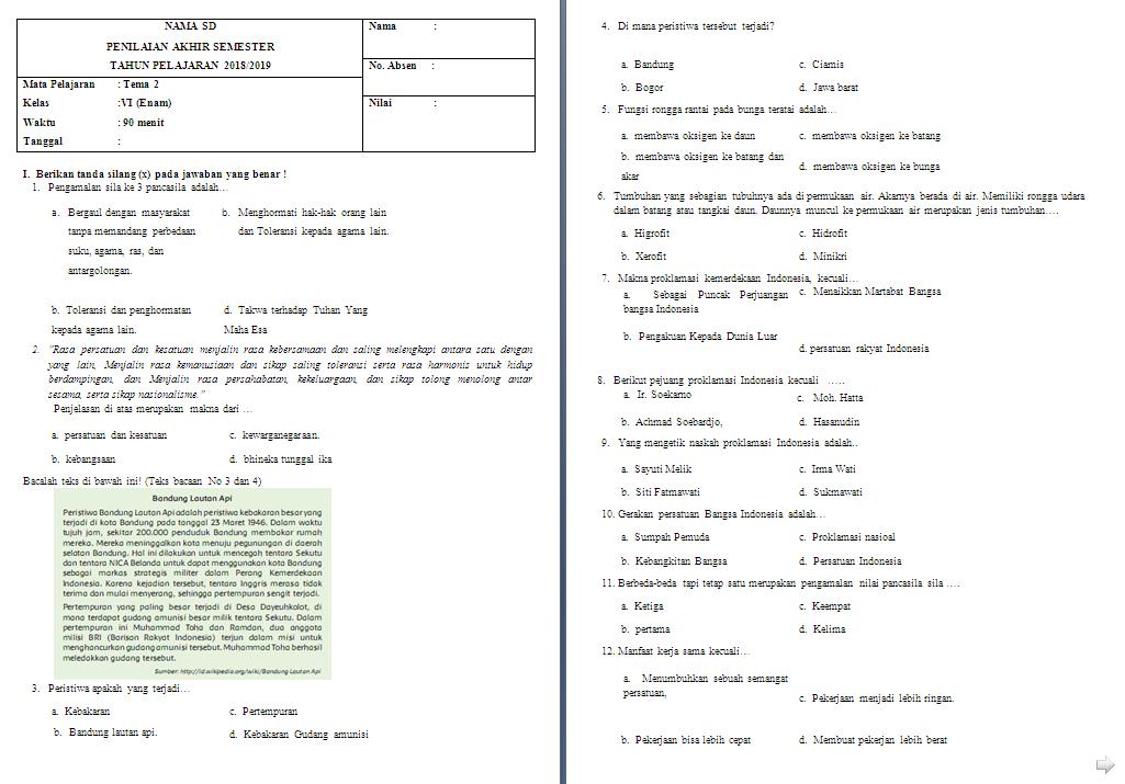 Soal Semester Kelas 6 Tema 2