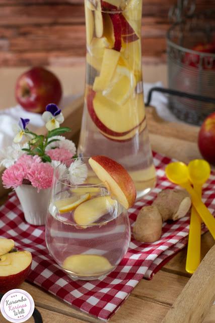 Infused Water mit Apfel, Ingwer und Zitrone