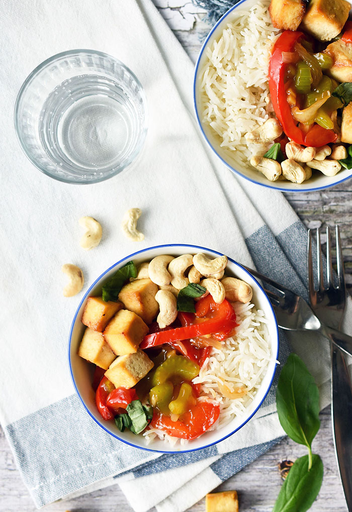 Healthy Tofu and Cashew Stir Fry (vegan, plant-based)