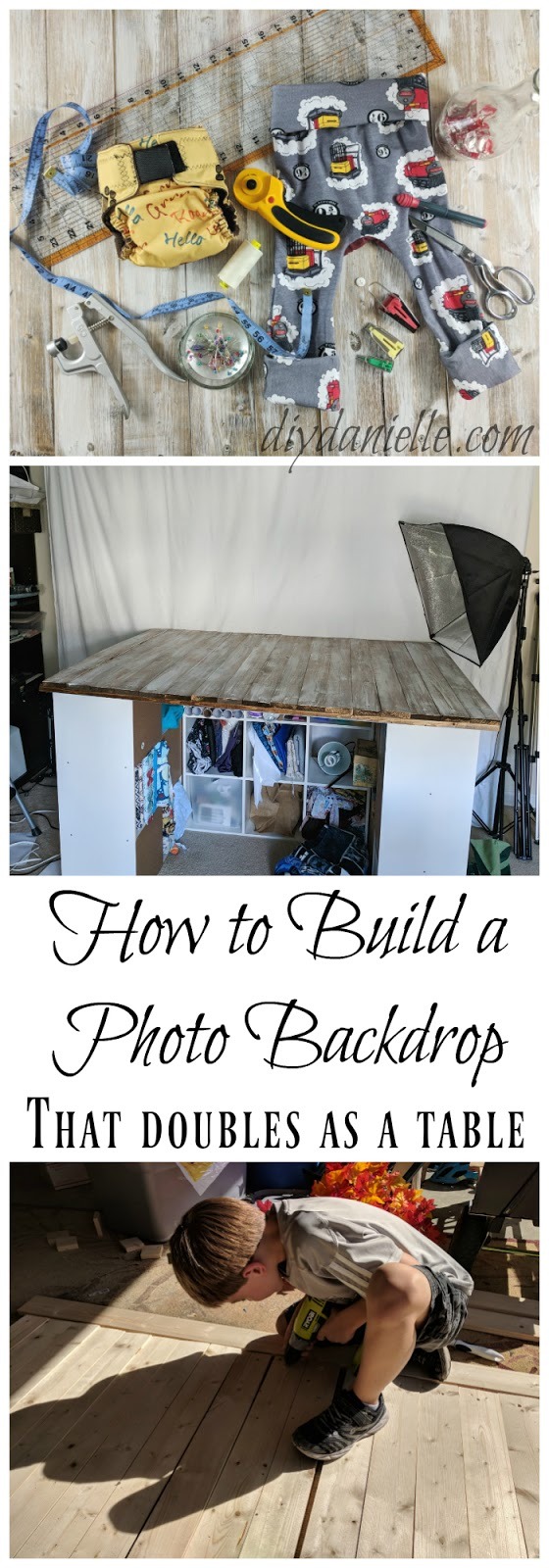 DIY Wood Photo Backdrop with distressed wood (and reversible).