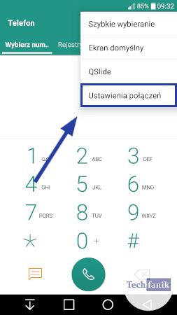 Dodatkowe opcje w aplikacji telefon