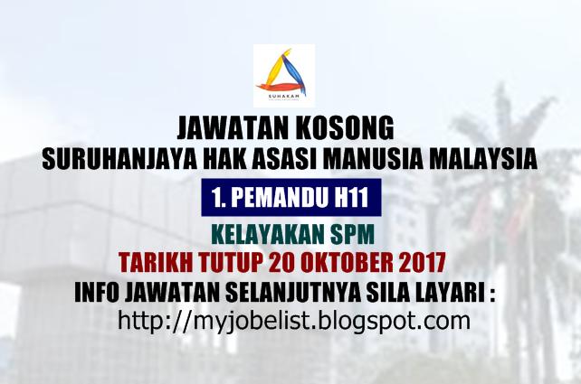 Jawatan Kosong Suruhanjaya Hak Asasi Manusia Malaysia (SUHAKAM) Oktober 2017