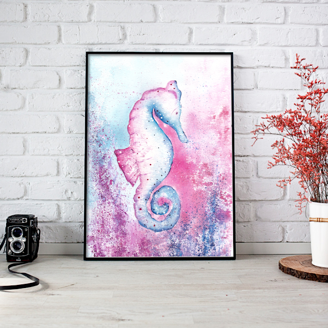 Pink and Blue Seahorse