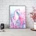Pink and Blue Seahorse Watercolor