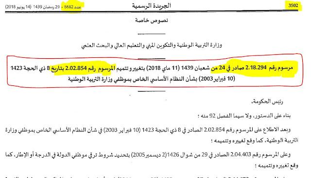 رسميا صدور مرسوم إطار متصرف تربوي في الجريدة الرسمية عدد 6682 لسنة 2018