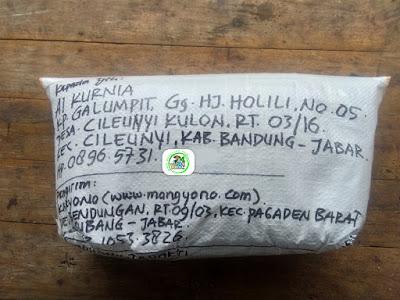 Benih padi yang dibeli   AI KURNIA Bandung, Jabar.  (Setelah packing karung ).