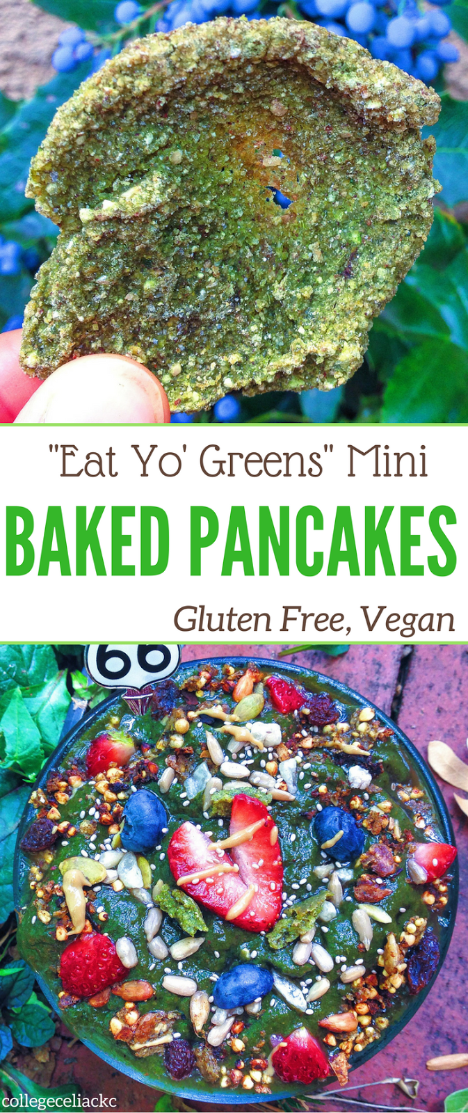 """Eat Yo' Greens"" Mini Baked Pancakes (Gluten Free, Vegan)"
