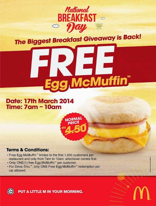 Mark your calendar on 17/3/2014 - McDonald National Breakfast
