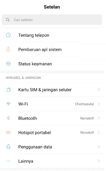 Setelan Xiaomi Di MIUI