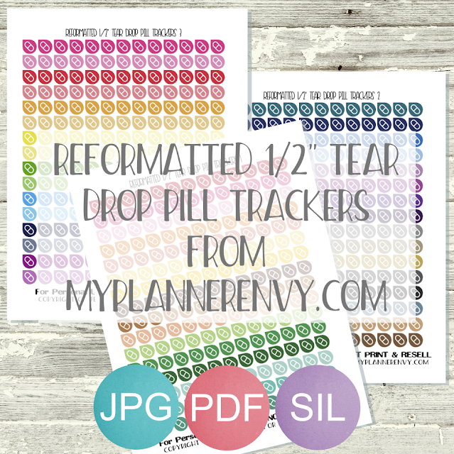 "Reformatted Free Printable 1/2"" Tear Drop Pill Trackers from myplannerenvy.com"