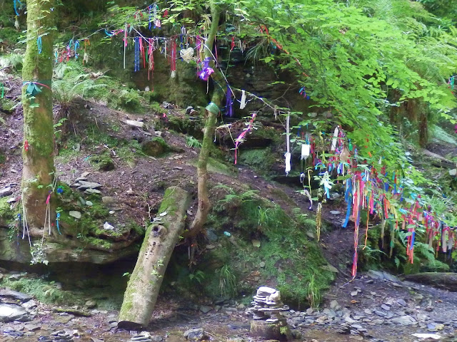 Ribbons on trees at St.Nectan's Waterfall